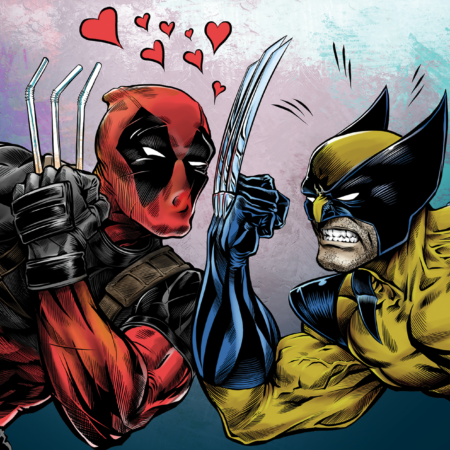 Deadpool taunts Wolverine digital colors