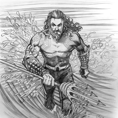 Jason Momoa Aquaman pencils